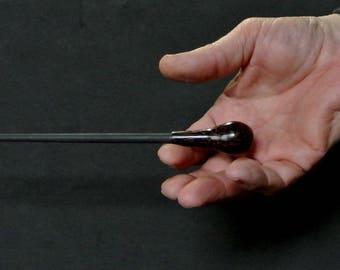 "Music Conductor's Baton - 12"" Black Palm with Black Shaft, Gift Box"