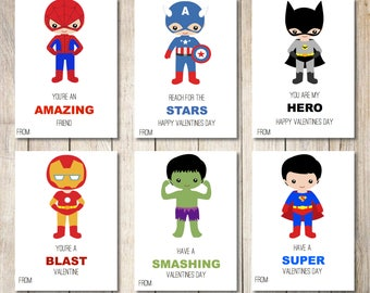 Kids Valentine cards | Superhero Valentines | Spiderman, Batman, Captain America, Superman, Hulk, Iron Man Valentine | Instant Download