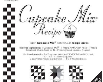 """Moda 5"""" Charm CUPCAKE MIX Recipe # 4 (44 Recipe Cards Per Pad), Piecing Made Easy, Pin, Stitch, Cut"""