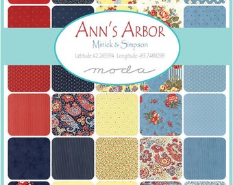"ANN'S ARBOR Minick & Simpson Jelly Roll 40 - 2.5"" x 44""  Fabric Strips  For Moda"