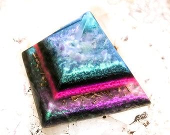 NEW! Violet Flame Orgone Alchemist Pyramid ~ Orgone Crystal Pyramid with Rainbow Moonstone