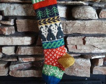 Knit Christmas Stocking, Personalized Knit Christmas Stockings, Christmas Stockings, Knitted Christmas Stockings, Gray Bunnies, Plum Trees