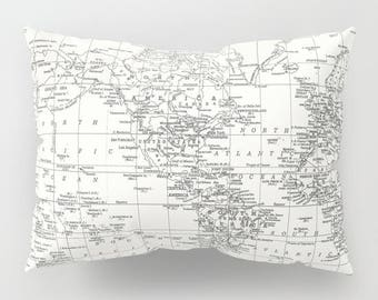 White World Map Pillow Case,  map decor  -  unique travel decor, wander, classic,  bedroom, bedding, home, apartment, college dorm room