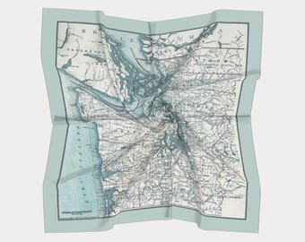 Puget Sound Map Scarf, map of Washington State -  light gray green  Conversation Piece women' s apparel scarf, beautiful, unique accessories