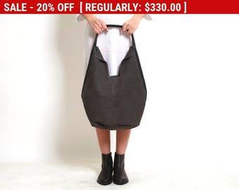Dark Grey Leather Tote Bag - Soft Leather Bag - Charley Bag