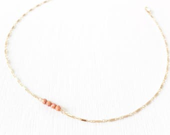 The Delicacy Choker - 14k gold and Czech glass beaded choker.