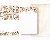 Personalized Stationery Set   Illustrated Floral Stationery Gift Set with Custom Notepad, Flat Cards, and Notecards : Blooming Wreath