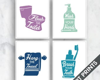 Bath Rules - Set of 4 - Art Print (Featured in Colors Wisteria, Sea Foam, Monaco and Ocean ) Bath and Washroom Prints