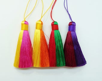 Synthetic Silk thread tassels, Dual colors, 8cm long, Price Per Piece