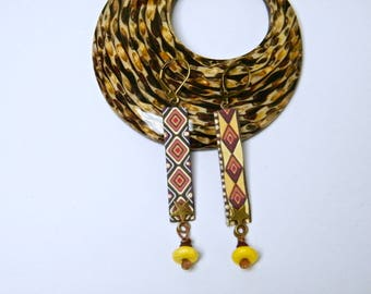 """Earrings print wax fabric, rondelle howlite, brass """"Scents of Africa"""", woman gift idea"""