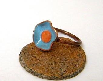 Bague minimaliste - cuivre - émail - cabochon acrylique - fait main - pièce unique - cadeau Saint Valentin - artisanal - bijou créateur