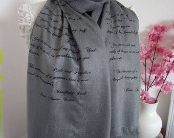 JANE AUSTEN Quotes Scarf - Pride and Prejudice and more quotes - Handprinted Scarf  Pashmina Silk Text Scarf Book Lovers Gifts