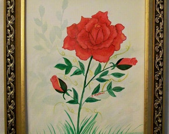 """Original 11x15 Watercolor Painting, Still Life Painting, Hand painted """"A Rose in the Garden"""",  Floral Painting, Hand Painted in the USA, #73"""