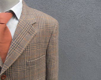 1980s PIERRE CARDIN Mens Glen Plaid Blazer / 80s Vintage Wool Sport Coat / Wool Suit Jacket / Size 44L / Large / Lrg / L / Made in Canada