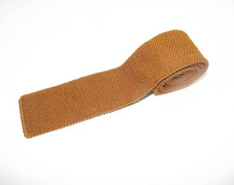 Vintage Square End Knit Tie / Mustard Wool Knit Tie / Mustard Narrow Wool Tie / Vintage Slim Wool Tie / Vtg Flat End Tie