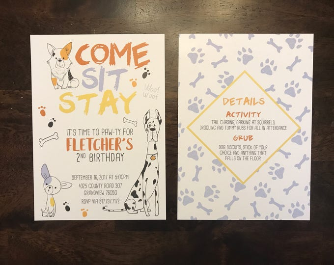 5x7 Puppy Dog Animal Themed Birthday Invitation for Girl or Boy