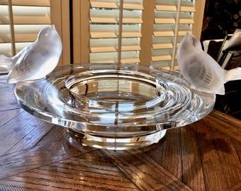 Lalique Deux Moineaux (2 Sparrows) Birdbath Bowl Near Mint Signed & Authentic