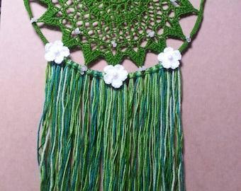 Crochet Mandala  Dream Catcher Rose Quartz Crystal