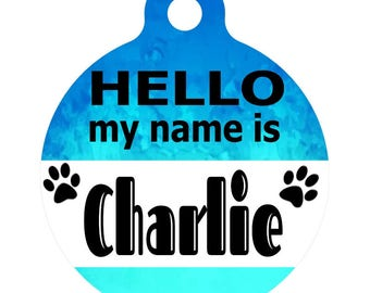 Personalized Round Pet ID Tag-In Teal & Cyan Watercolor | Custom Pet ID Tag | Dog Collar Name Tag | Double Sided | HELLO my name is