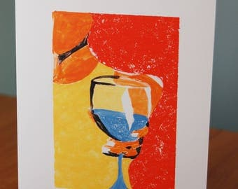 Wine Glass Themed Greeting Card with blank inside and white envelope