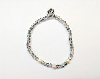 Green and Purple Stretchy Shimmer and Freshwater Pearl Bracelet