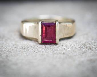 Pink Tourmaline Ring 9.5 -  Rubellite Tourmaline - Tourmaline Ring Size 9.5 - Pink Tourmaline - Engagement Ring Alternative - Rubellite