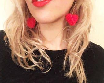 Valentines Heart Pom Pom Earrings, Heart Earrings, Valentines Earrings, Earrings, Dangly Earrings, Drop Earrings, Red Earrings