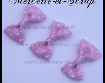 LOT 5 purple violet white polka dots bow Appliques grosgrain 30 Butterfly
