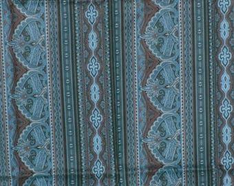 Jinny Beyer RJR Fabric 1 Yd Border Print Teal Turquoise Blue Black Remnant