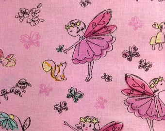 One Half Yard of Fabric Material - Garden Fairy Pink