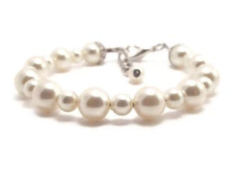 Baby Bracelet, Baby Pearl Bracelet, Newborn Bracelet, Baby Shower Gift, Girls Bracelet, Flower Girl Bracelet, Baby Girl Bracelet (B58)