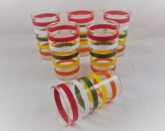 Vintage Anchor Hocking Drinking Glasses Fiesta Bands Striped Set of 4