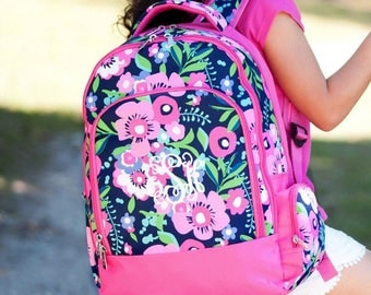 Monogram Backpack and lunchbox, Posie Backpack, Embroidered Backpack, Elementary backpack, personalized backpack
