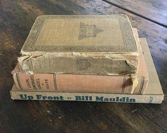 Vintage Brown Book Bundle / Up Front by Bill Mauldin / Look Homeward, Angel by Thomas Wolf / Funk & Wagnalls Concise Standard Dictionary