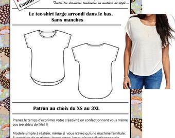 Pattern large T-shirt, sleeveless, low rounded