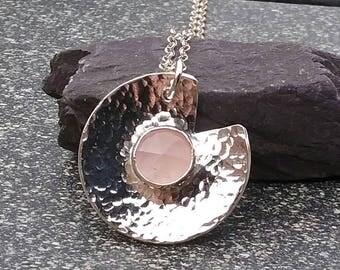Sterling Silver Pendant, Rose Quartz Pendant, Hammered Silver Pendant, Rose Quartz Jewellery