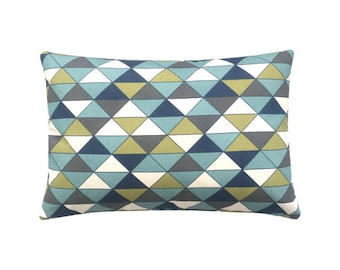 Cushion cover DIMENSION triangles graphically blue olive nature anthracite 40 x 60 cm