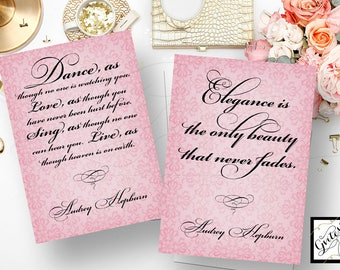 "Audrey Hepburn quotes wall art, quote print, elegance is the only beauty never fades, dance as though - Quote Set of 2/5x7"" CUSTOMIZABLE"