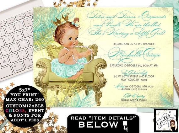 Mint Green & Gold Baby Shower Invitations, princess baby shower, mint green tutus bows, ribbons diamonds pearls, vintage, baby girl invites