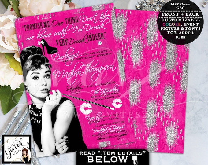 Pink Audrey Hepburn Custom Invitations, Bridal Shower Pink and Silver Glitz and Glam, Breakfast at invites, 1950s, double sided, 5x7 Gvites