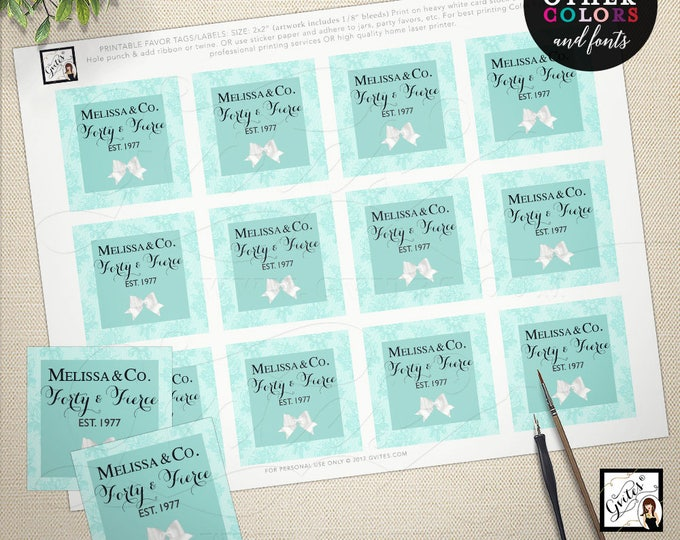 "Blue favor tags, birthday & co tags, 40 and Fierce, 25th birthday thank you tags, breakfast at, party, toppers, labels, gifts 2x2"" PRINTABLE"