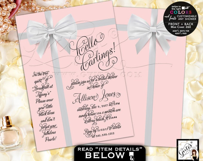 Bridal Shower invitations, pink Audrey Hepburn invitation, customizable any shower. PRINTABLE 5x7 double sided.