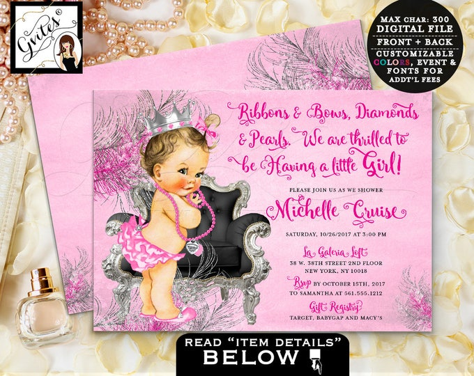 Hot Pink Baby Shower, Pink and Silver Princess Shower Invitation, ribbons bows, diamonds pearls, invitations, 7x5 double sided. DIGITAL