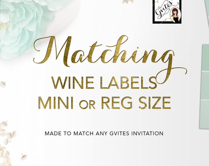 Matching Wine Labels Add-on - To Coordinate with any Gvites invitation design.