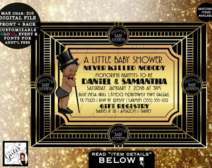 Great Gatsby Baby Shower BOY Invitations, Printable, African American Baby Shower Invites, Black and Gold invitation 5x7 DIGITAL FILE Only!