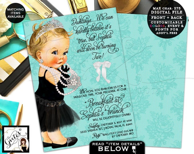 Baby and Co Birthday invitation, 2nd birthday, first invites breakfast at, pearls princess lace white bow, double sided, 7x5.