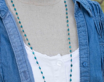 Turquoise Necklace   .  Turquoise Beaded Necklace  .  Hand Knotted Silk Necklace