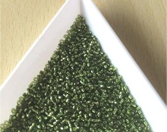 """pretty little Pearl """"Miyuki"""" micro-ball size 15 diamond olivine color"""