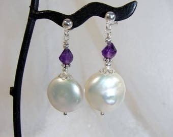 Amethyst earrings, cultured pearl and silver