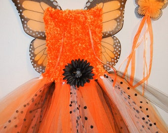 ORANGE MONARCH! Fuzzy Fairy-Princess Costume, size 3-8!  with Wings, Headband, Magic Wand! Affordable and FUN!